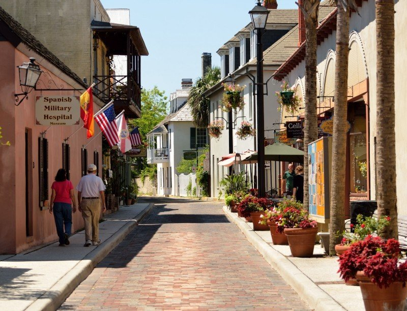Aviles Street in St Augustine - warm places to visit in February in USA